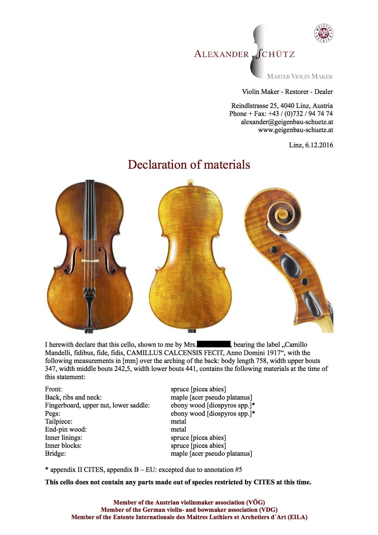 Artenschutz und Streichinstrumente – Begutachtung der Instrumente des Brucknerorchesters Linz für die USA Tournee im Februar 2017