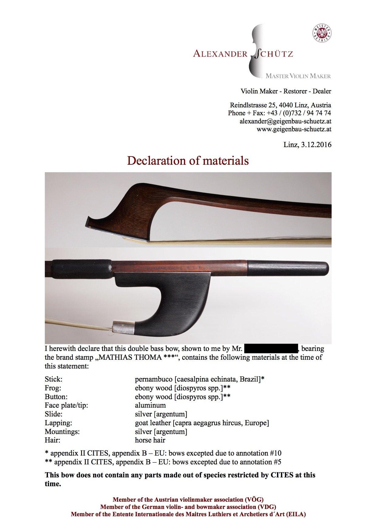 Declaration of Materials für einen Kontrabassbogen