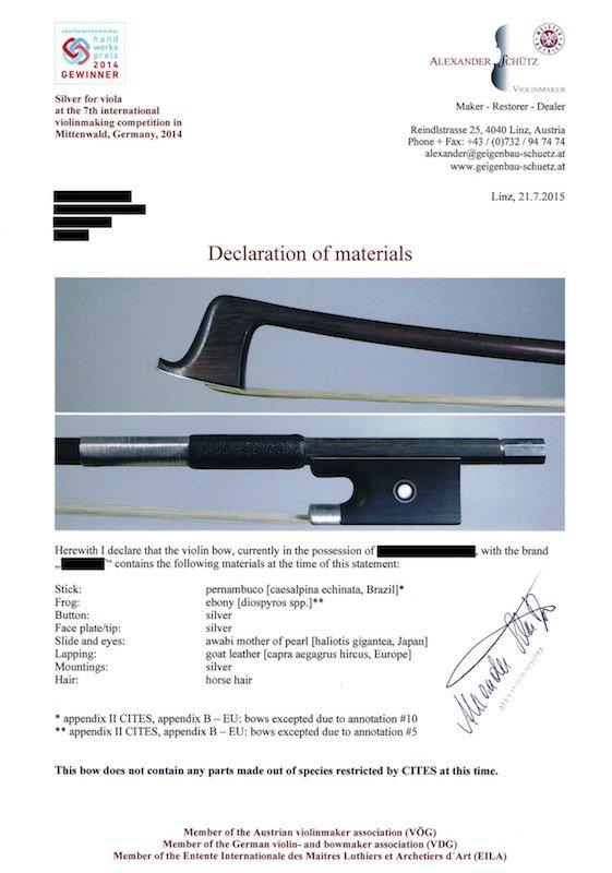 Declaration of Materials - Bow