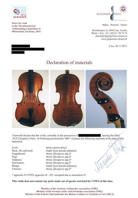Declaration of Materials - Violin