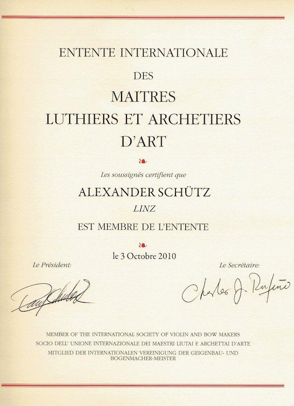 Membership certificate EILA 2010